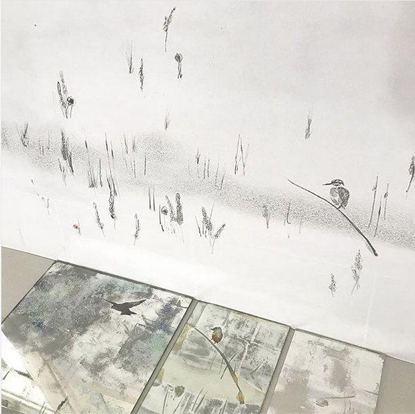 Full scale drawing and sampling of verre eglomise