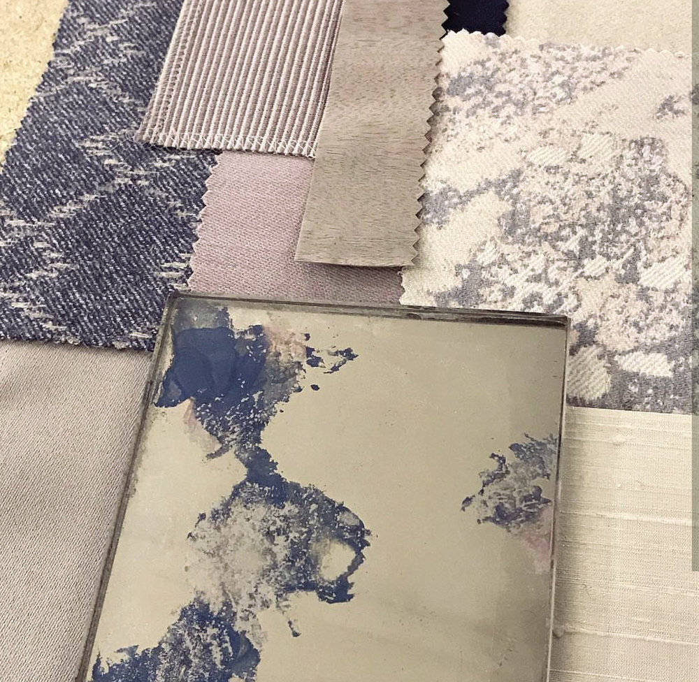 Sampling stages: The client's fabric swatches; a scheme of lilac, denim and soft grey.