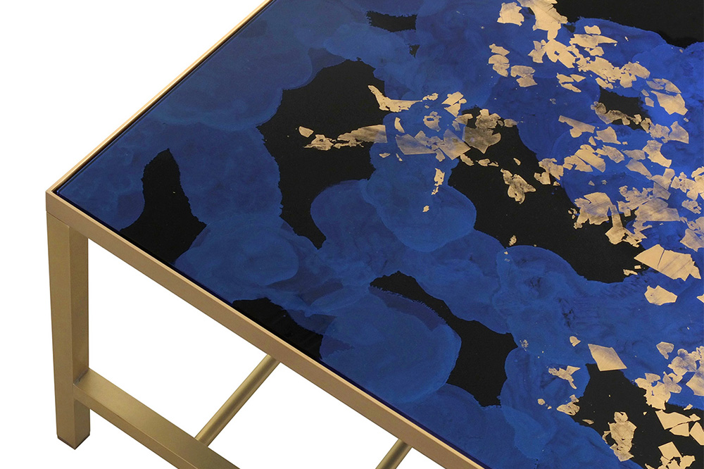 Studio Peascod collaboration with metal worker Timothy Graves and interior designer Fiona Squires. Coffee table in distinctive royal blue verre églomisé Sapphire Cosmos design with satin brass base