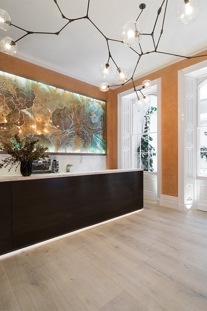 Back drop to the reception of restaurant Spring, at Somerset House, London.  The five-panel piece includes layers of 22 carat gold leaf, silver leaf, Japanese Washi papers and pigments.