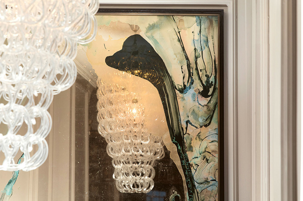 1930s inspired piece for Ormer Mayfair, at Flemings Mayfair hotel, London. 22 carat gold mirror surrounded by textured layers,  using Japanese pigments evoking mother-of-pearl and rocks.