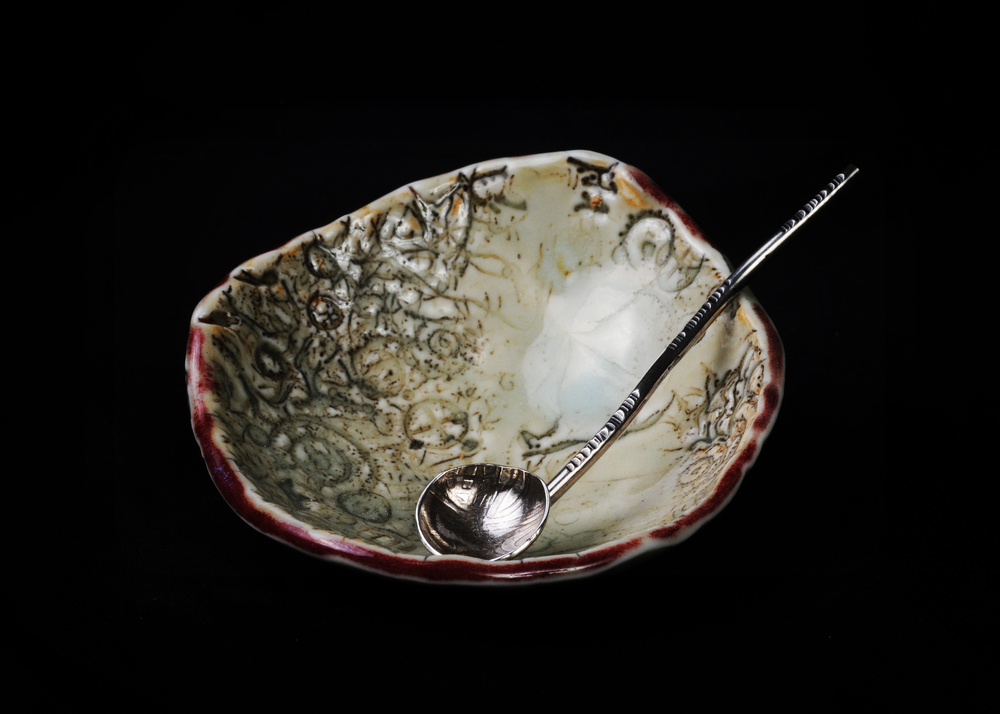 set porcelain bowl, ss spoon  SOLD