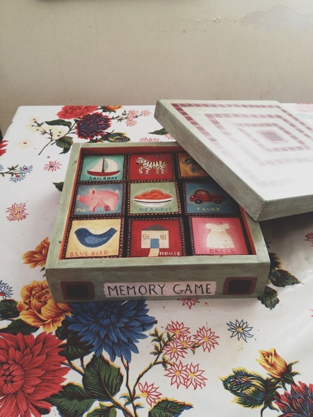 Memory Game.  Handmade by me.  27 hand-painted wood block pieces. Handmade, hand-painted box.  These take forever to paint. Spent many afternoons in June, cranking out these little images. This is only the fifth one I have ever made.
