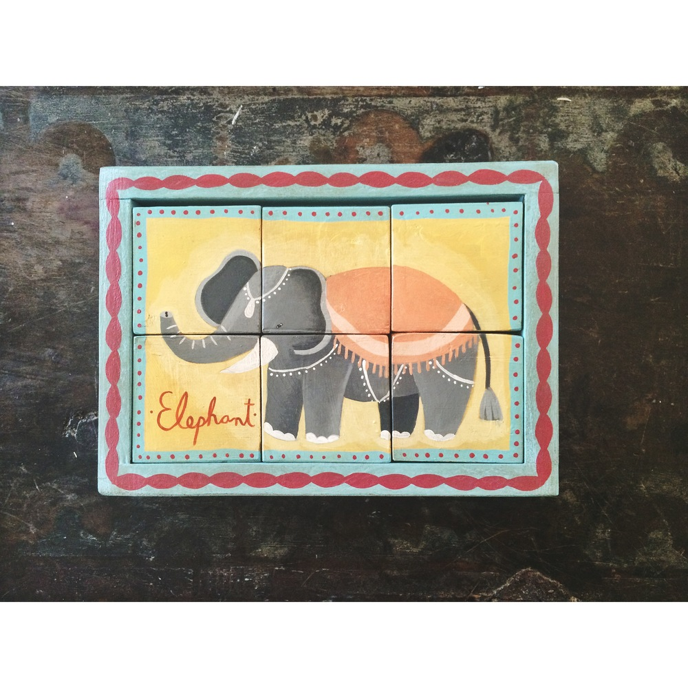 New Hand-painted Wood Circus Elephant Puzzle