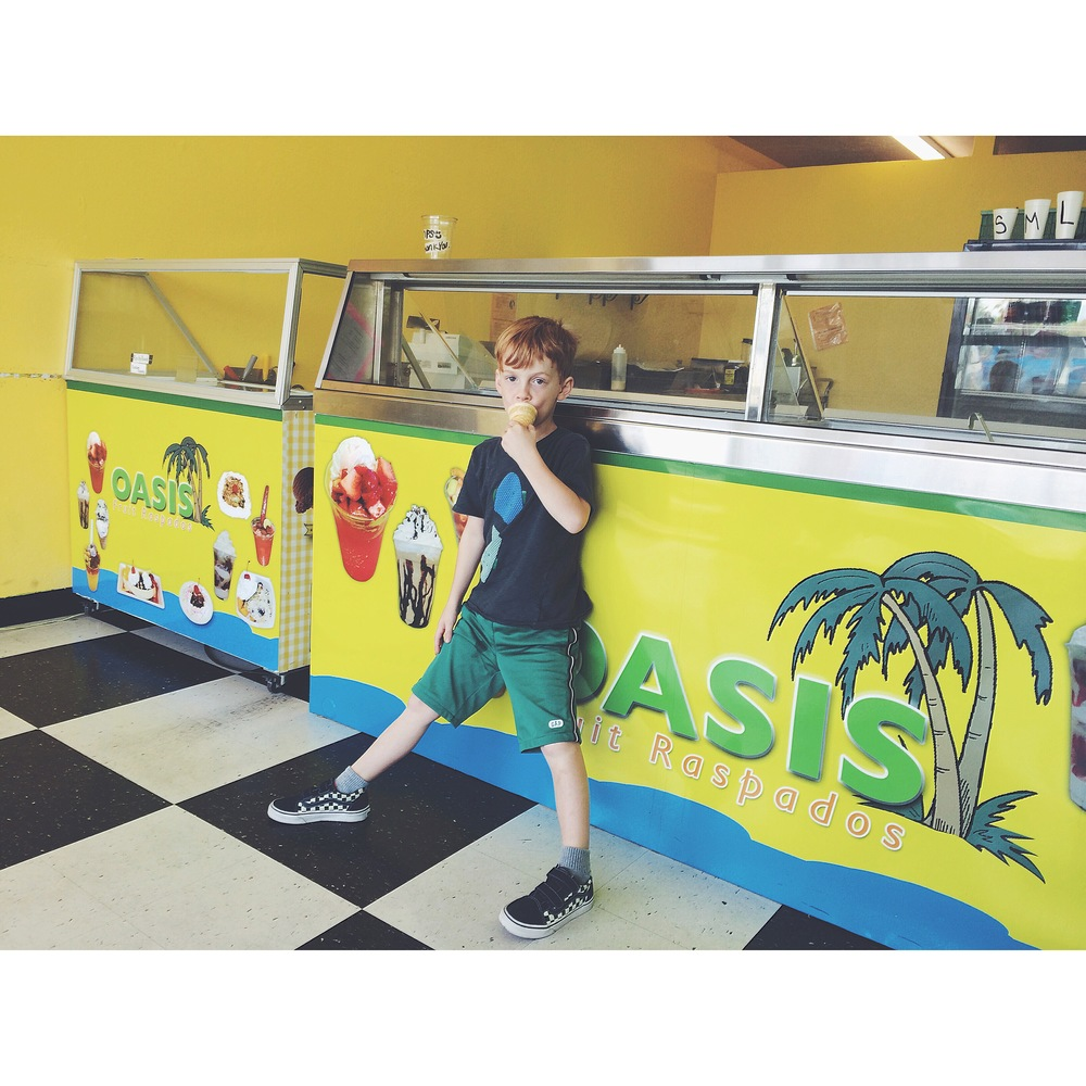 Viggo. last summer, at our favorite snow cone shop,  Oasis Raspados .