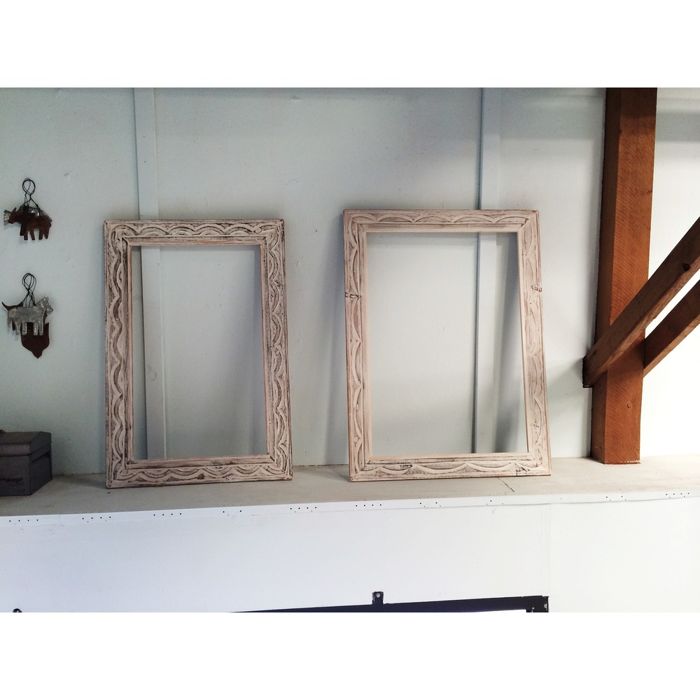 Hand-carved frames, ready for mirrors.