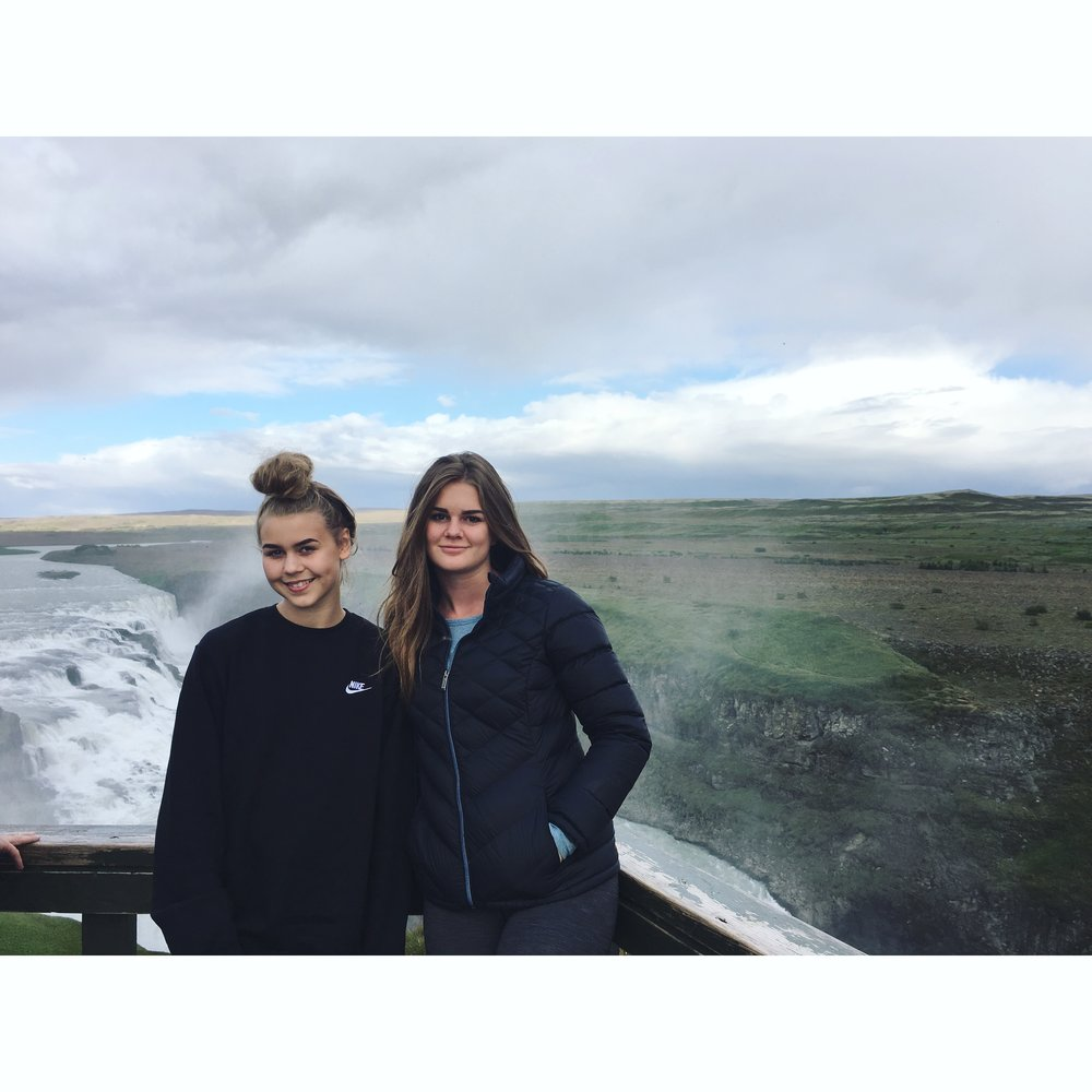 Aurora and Clementine at Gullfoss, with so many tourists we had to block the waterfall to get a picture of just these two!