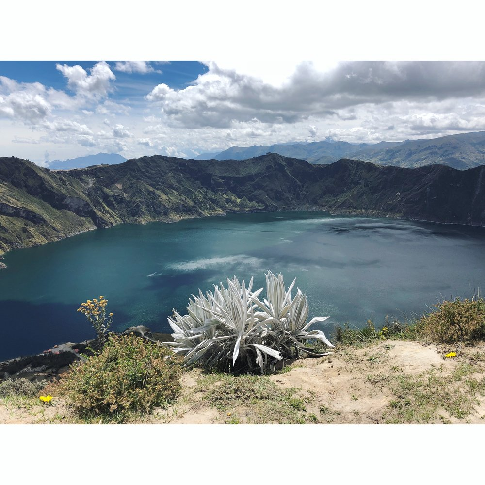 And finally, Quilotoa, a water-filled crater in the most western volcano of the Ecuadorian Andes.  We hiked the perimeter but you can also hike down into the crater, and a donkey will take you back up to the top.