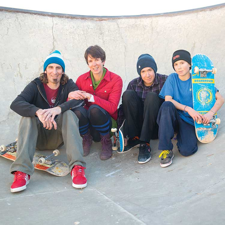 A skateboarding fam (from left to right): Jefe, Dee Elle, Canyon, and Arrow Bupp