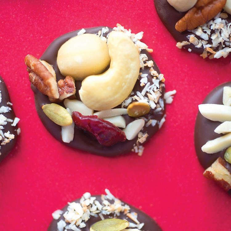 Fruit and Nut Dark Chocolate Clusters. Recipe below.