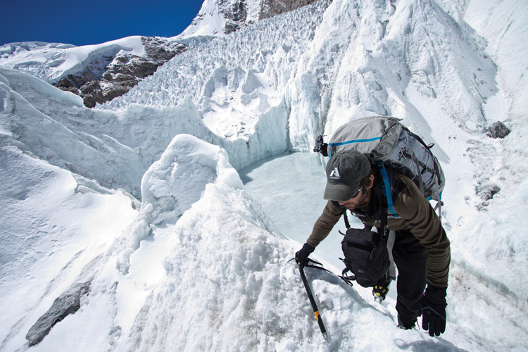 Photo: Andy Tankersley Mark Fisher ascends Shishapangma, an 800-meter peak in Tibet.