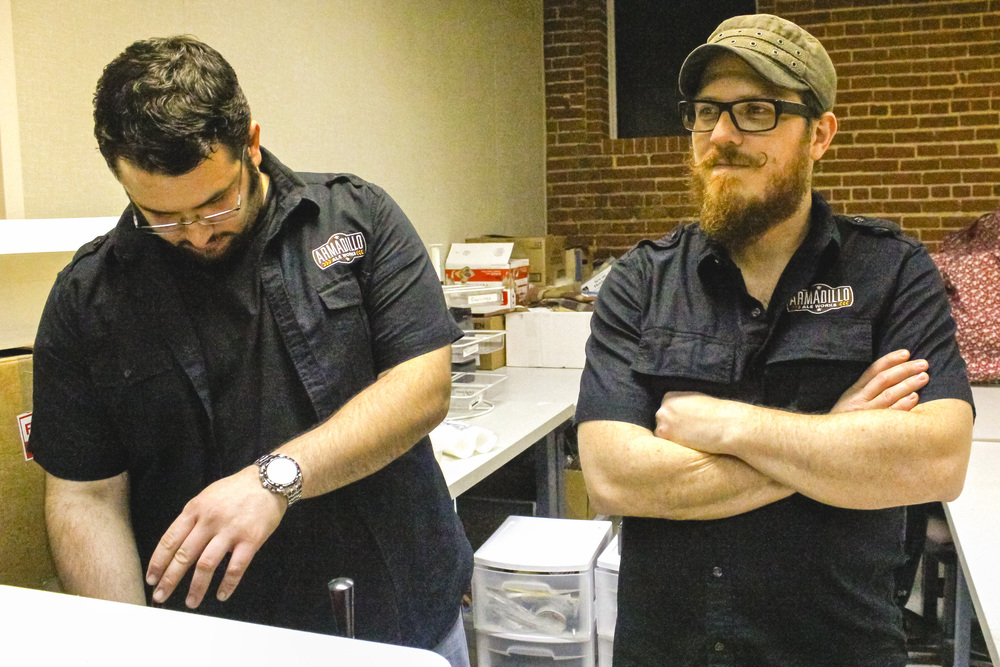The brains behind Armadillo Ale Works, Bobby Mullins and Yianni Arestis. - Photo by Courtney Marie