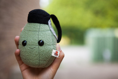 Grenade plushie from Fuzzy Muffins