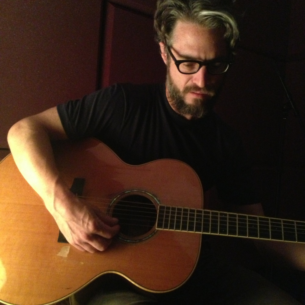 Doug Burr hard at work on his new album this past Saturday at Midlake's studios.