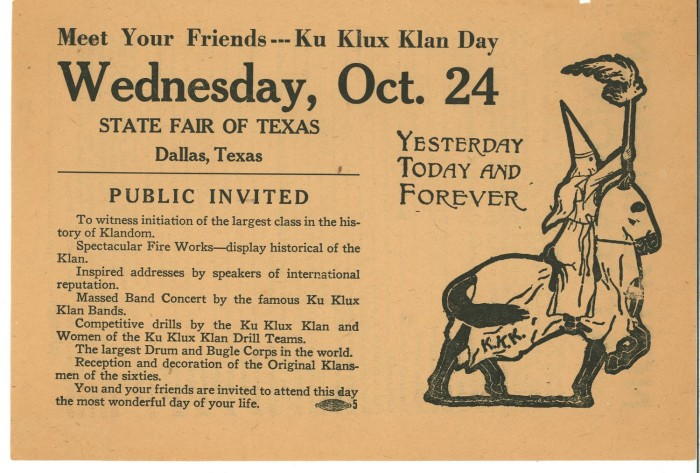 Ad for KKK Day at 1923 Texas State Fair. Yes, this actually happened.