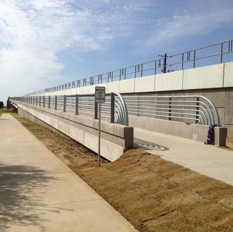 The new pedestrian bridge over Loop 288 opened up in June.