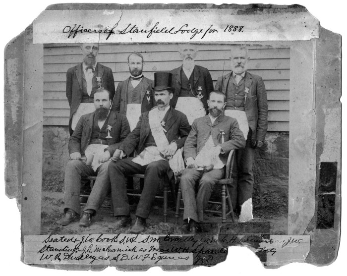 1888 officers of Denton's Stanfield Lodge, early education boosters.