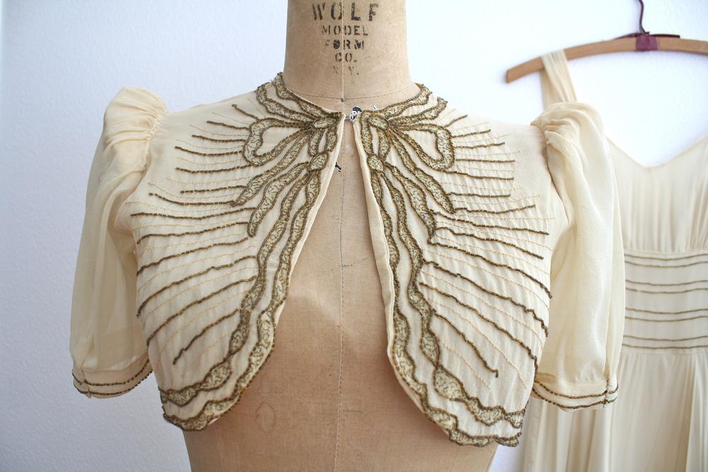 1930s beaded silk chiffon dress withtrompe del'oeilbow bolero