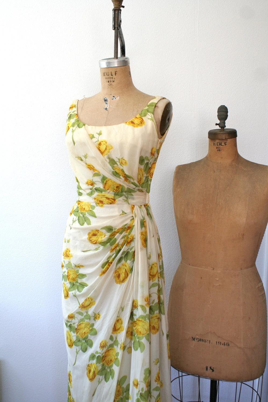 1950s Silk Estevez evening dress with yellow rose print