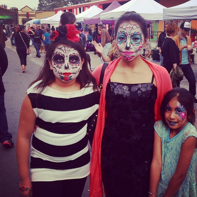 We were wowed by the sheer make-up talent at play on many attendees faces. The intricate, Day of the Dead designs were beautiful and everywhere you looked like this photo from reader  Veronica  .