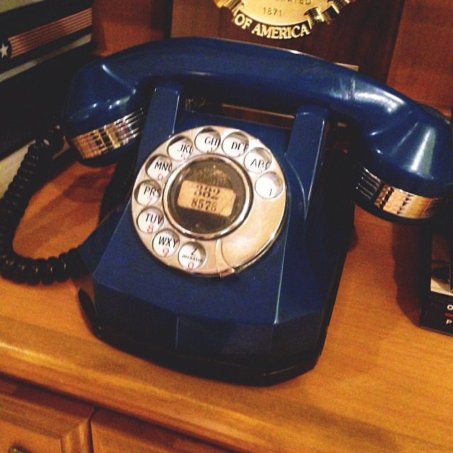 The very first dial tone phone call in Denton was made on this phone from Mayor Mark Hannah to his wife. No joke. We used it to prank call our friend Tommy.