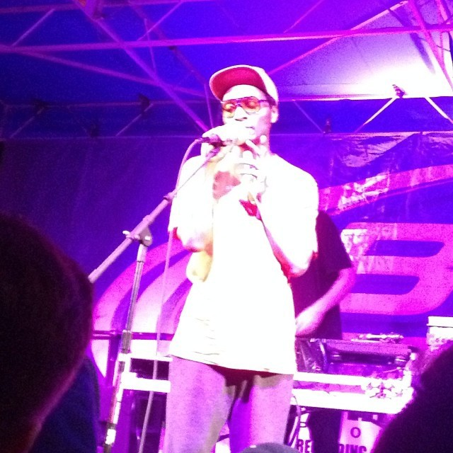 Del the Funky Homosapien brought it down at Oaktopia. According to twitter the eclectic rapper could be heard from many blocks away. Photo by KBrownies.