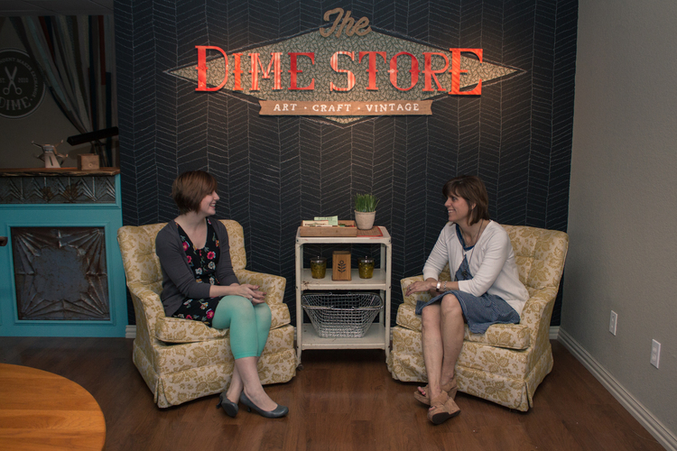 Shelley Cristner and Rachel Aughtry, co-owners of The Dime Store. Photo by Dave Koen.