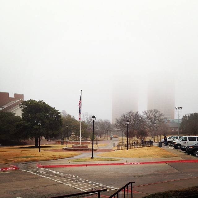 Y'all, it was super foggy earlier in the week. And it didn't let up for a while. We kind of dig it when it gets that foggy. It makes Denton feel a little more mysterious. Photo by kokiri330
