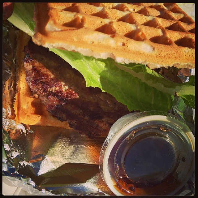 Nathan Williams checked out The Waffle Wagon, too. Here's their burger waffle with syurp.