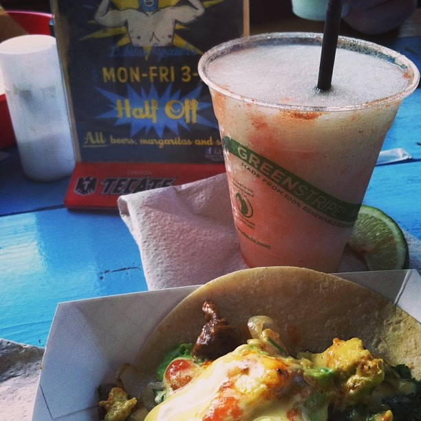 Let's start this thing off strong with this amazing-looking Rusty's taco/margarita combo from reader  @veeveemarie