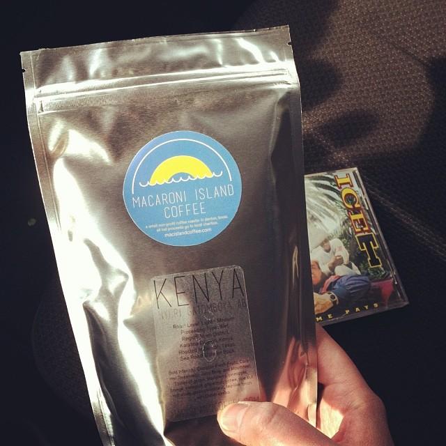 Michael Seman  grabbed a bag of Macaroni Island Coffee.