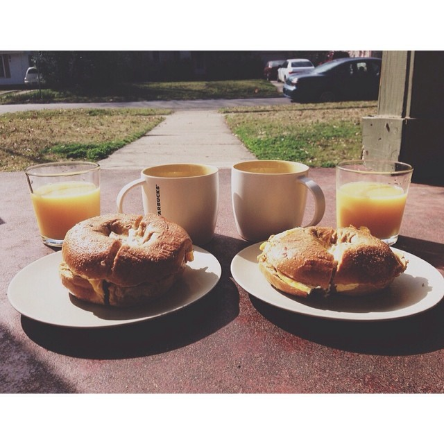 Sitting on the porch with some take home Royal's Bagels on a beautiful morning - sounds like our kind of Saturday. Photo by Sarah Lanette.