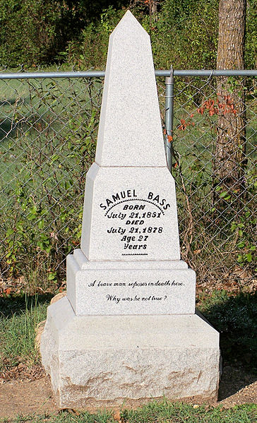 Sam Bass' tombstone in Round Rock, TX.