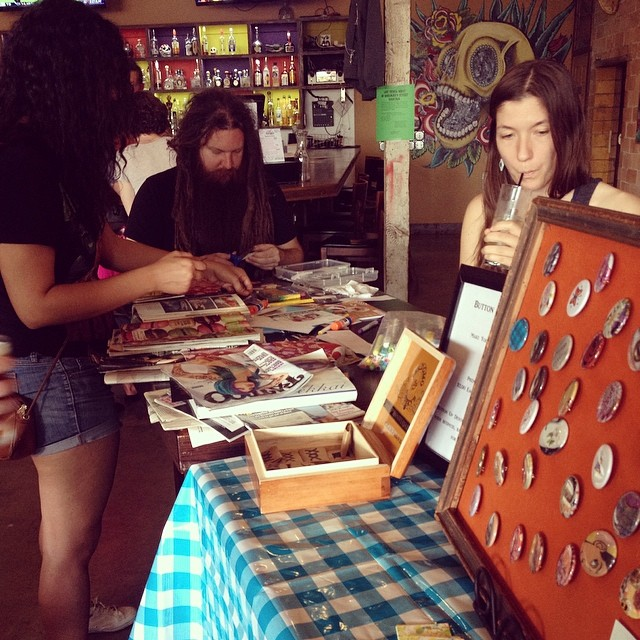 Art sale at Mulberry St. Cantina this past Saturday. One month until the next one. Photo by  @buttonupdenton .