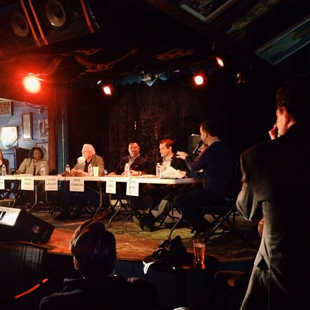 Candidates debate at Dan's. Photo by  Paige Gibson.