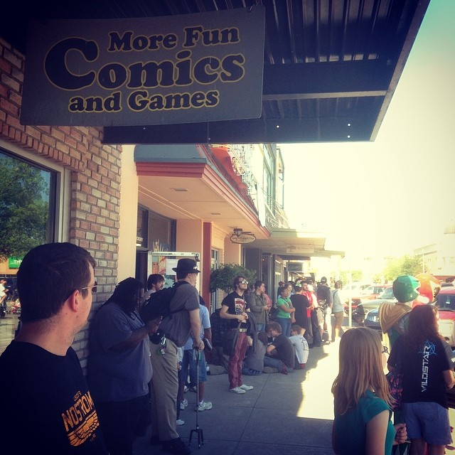 Free Comic Book Day was awesome once again. @mkernan made sure to document the ever growing line at More Comics Fun and Games for Free Comic Book Day when he randomly stumbled across it, trying to purchase someone a gift.