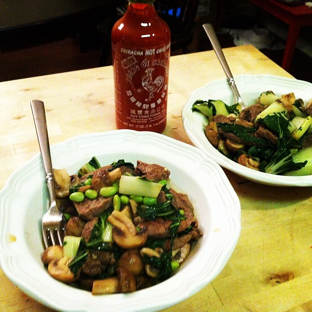 @katiekernan  made a stir fry full of Denton Community Market veggies and Denton's favorite condiment.