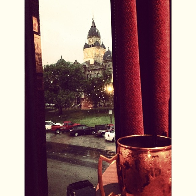 @coffeecatkid enjoyed a Moscow Mule from Pachall's and enjoyed one of our favorite views of the courthouse on a rainy day last week.