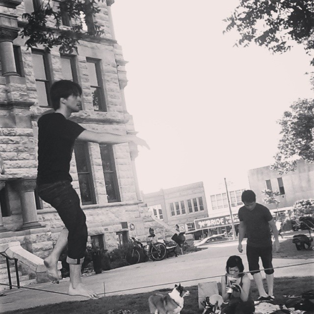 Slack line - a courthouse classic. Photo by @thedapperbat.