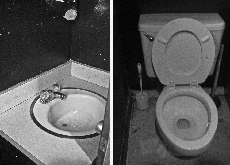 The restrooms at Recycled Books in a nice grainy black and white.