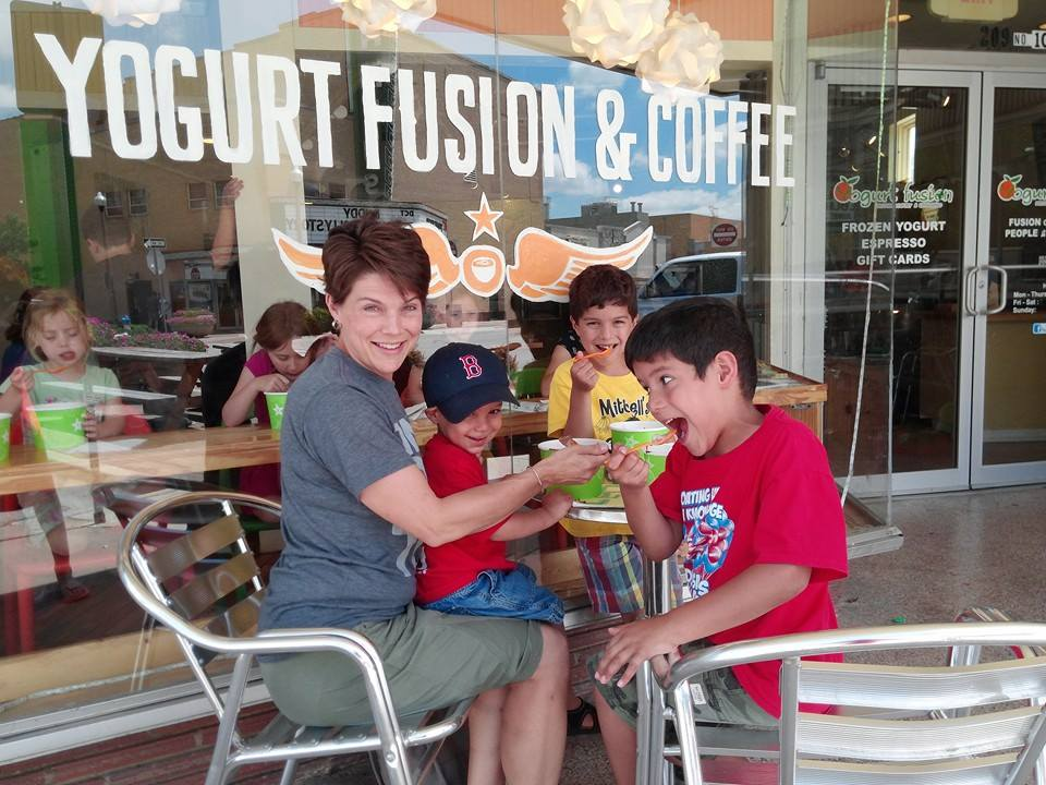 Just a couple of kiddos and one spectacular local mom keeping cool at Yogurt Fusion which hosted an end of the school year party/fundraiser for the Denton Splash Park and managed to raise lots of money!