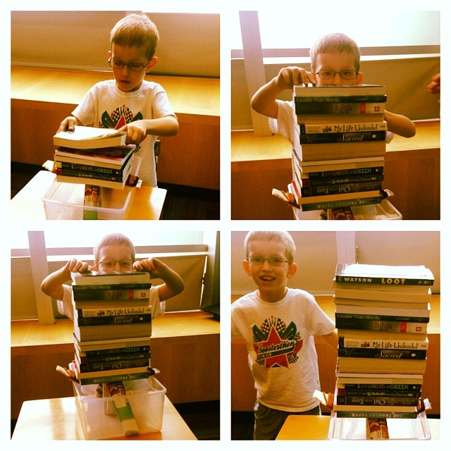 "@dentonpubliclibrary thinks this 8 year old has civil engineering in his future by the looks of his stable and sound 'book bridge'. ""Buildings and Bridges"" was just one of the many summer programs the library is offering. You can find more here."