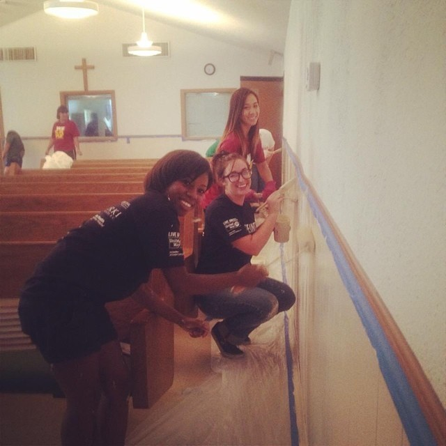 @sarabutton and friends were caught painting the chapel of the local Salvation Army and doing good deeds during the United Way's Day of Action.