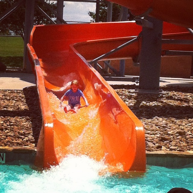 Slide time at the waterpark! This water-filled action was brought to you by  @katiekernan .