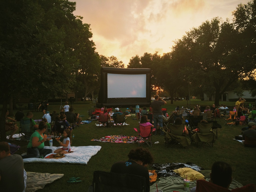Families, picnics and s'mores at the city-sponsored outdoor movie night from last week. This was before the sound issues, of course. But when you're watching The Lego Movie, it's hard to be mad.