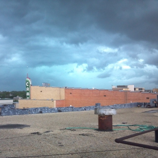 @fineartstheaterdenton  was watching those storms roll in from the rooftop. Also, how the hell do all of you have so much damned roof access in this town? Rappelling?