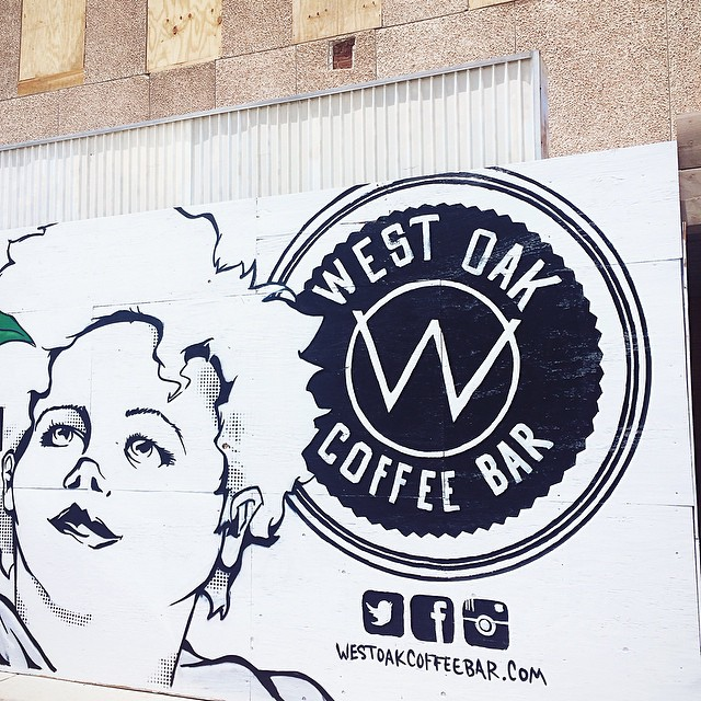 West Oak Coffee Bar got some sweet art added to the front and side. The work was done by local artist Dan Black. We actually got a chance to go behind the wood and scope out the space. We'll have more info on that later. Until then, check out this cool pic from @brefkast.
