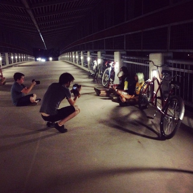 All kinds of stuff happens on the Tuesday night bike ride... thanks for the photo of the Denton Staged productions, @anthonynajera90!