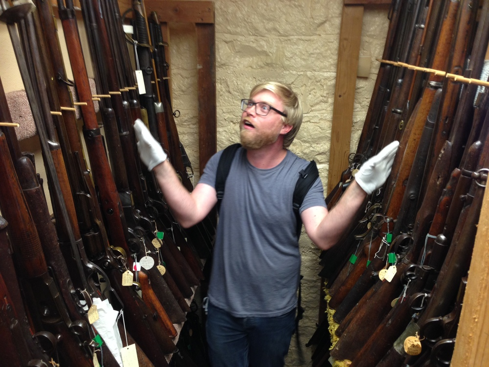 On our little museum tour we got to check out a storage room with a bunch of antique guns on loan from UNT's collection.