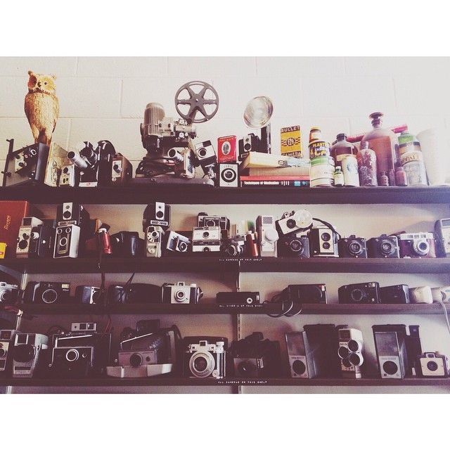 Wall of awesome old school cameras at Denton Camera Exchange. Film anyone? Thankfully @itshannahgambleyall found her way to Denton Camera Exchange so that she can get click happy. We have to limit the amount of time we spend in the store or we buy too many things.